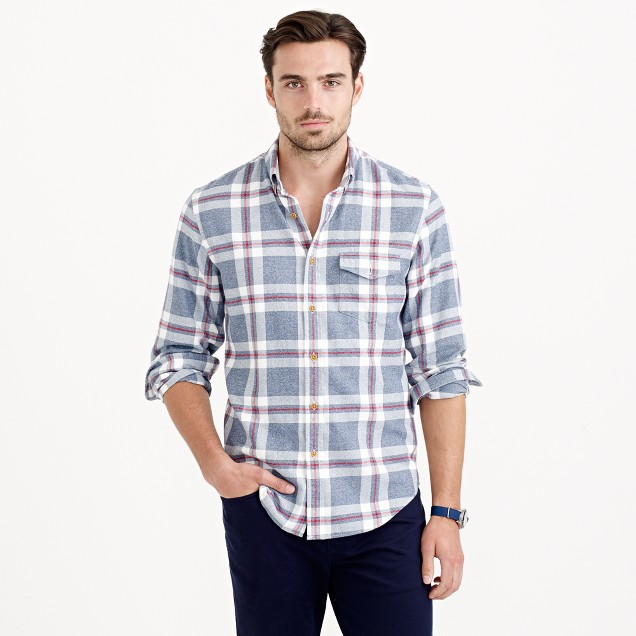 Slim brushed twill shirt in explorer blue