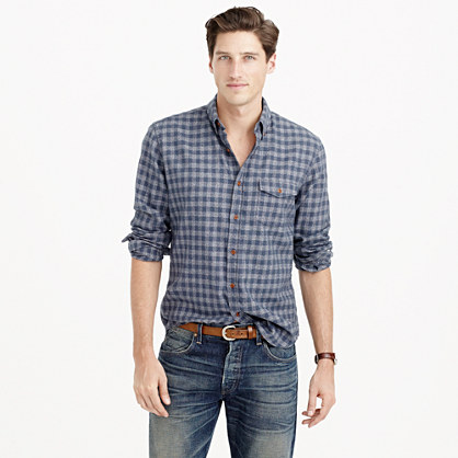 Brushed twill shirt in tonal gingham soft heather twill for Brushed cotton twill shirt