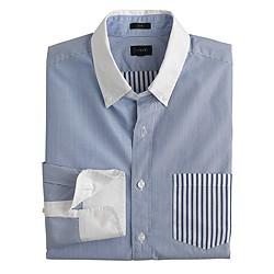 Slim Secret Wash white-collar shirt in multiblue stripe