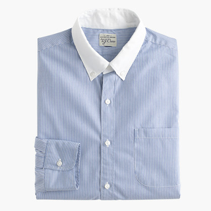 Slim Secret Wash white-collar shirt in banker stripe