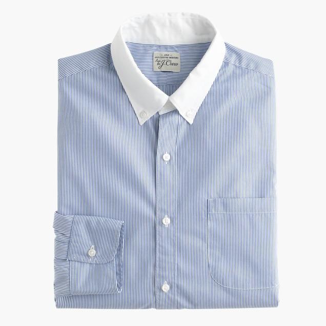 Slim Secret Wash white-collar shirt in banker stripe