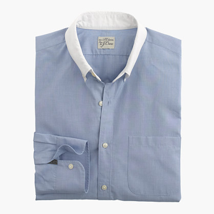 Slim Secret Wash white-collar shirt in end-on-end cotton