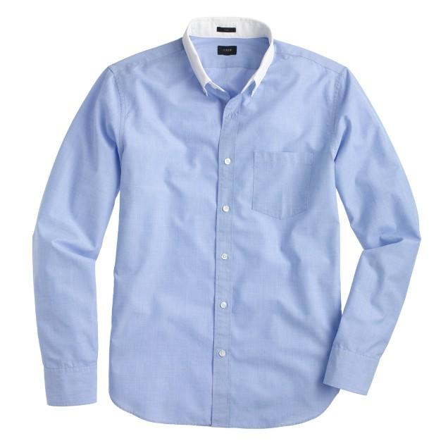 Slim Secret Wash white-collar shirt in end-on-end cotton