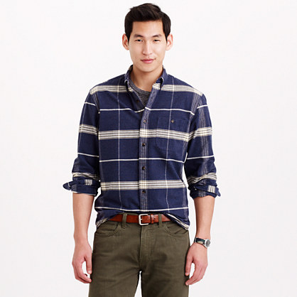 Chamois Elbow Patch Shirt In Heather Sea Plaid 50 Off