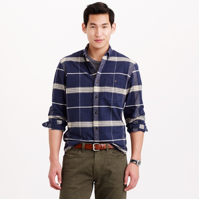 Chamois Elbow Patch Shirt In Heather Sea Plaid J Crew