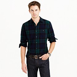 Tall herringbone flannel shirt in Black Watch plaid