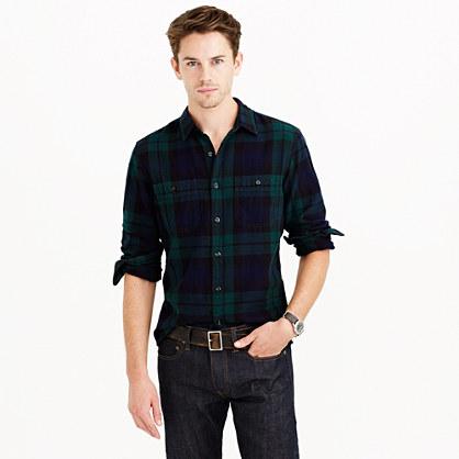 Herringbone flannel shirt in black watch plaid flannel for Black watch plaid flannel shirt
