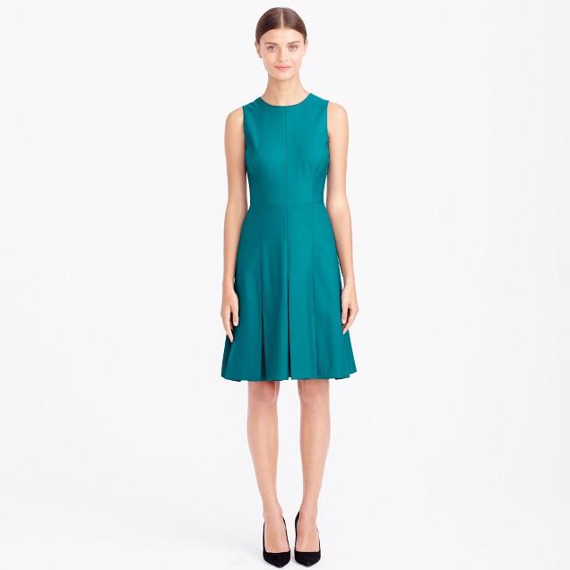 Petite pleated dress in Super 120s wool