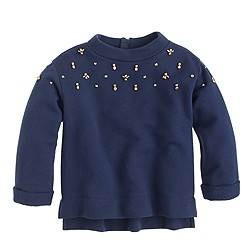 Girls' embellished back-zip sweatshirt
