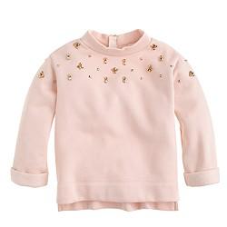 Girls' embellished back-zip sweatshirt