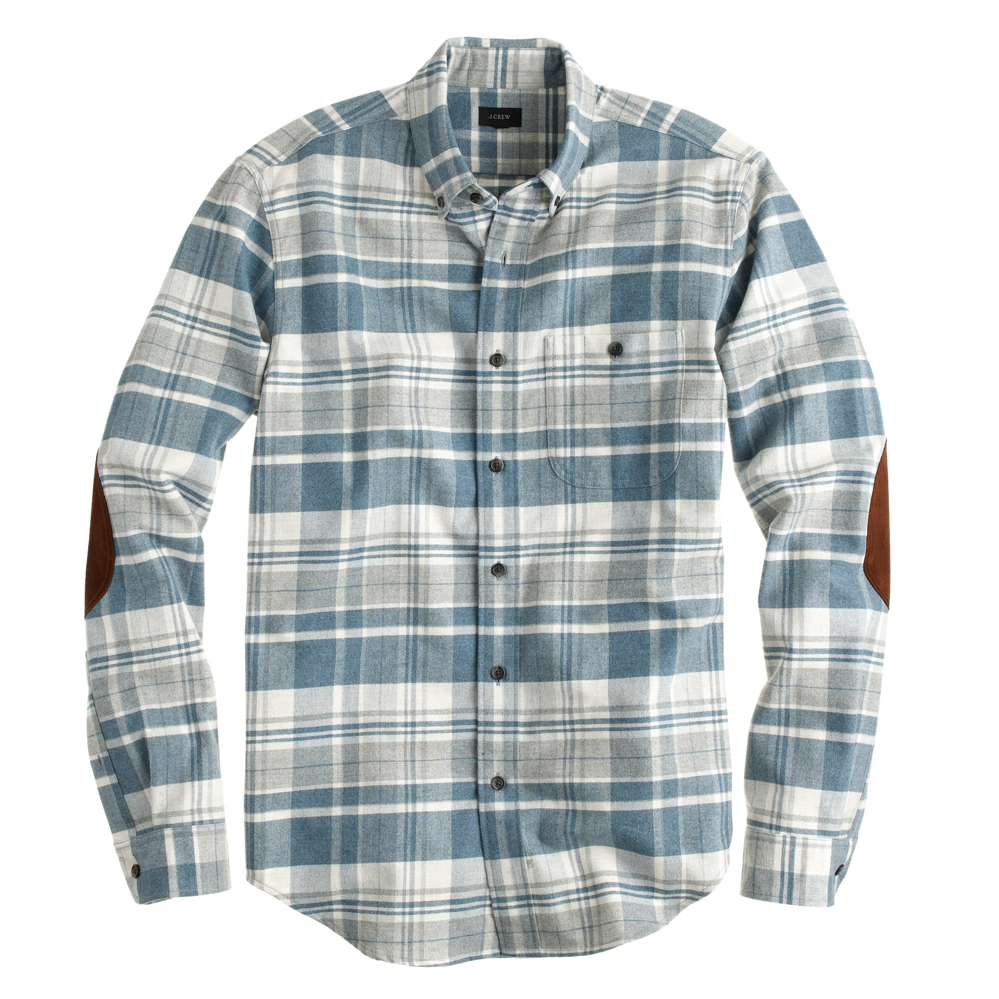 Chamois Elbow Patch Shirt In Heather Granite Plaid J Crew