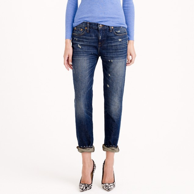 Broken-in boyfriend jean in traction wash