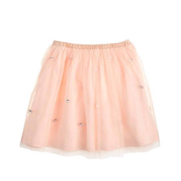 Girls' embellished tulle skirt