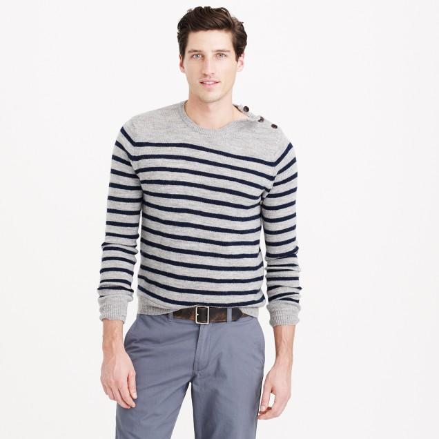 Slim rustic merino elbow-patch sweater in stripe