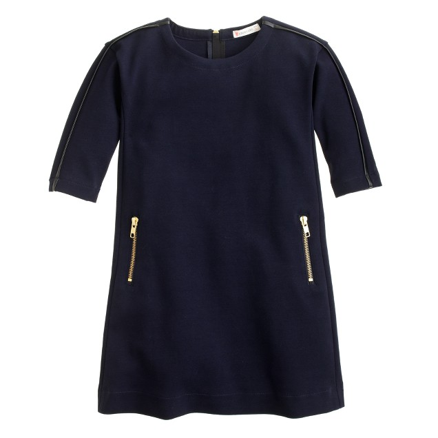 Girls' zip-pocket dress with faux-leather trim