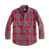 Boys' Secret Wash shirt in dark poppy tartan