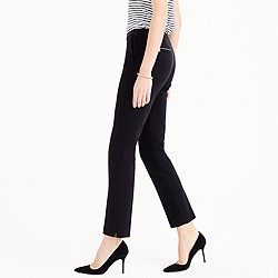 Petite back-zip pant in bonded crepe