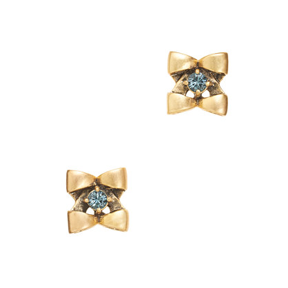 Tiny bow flower studs