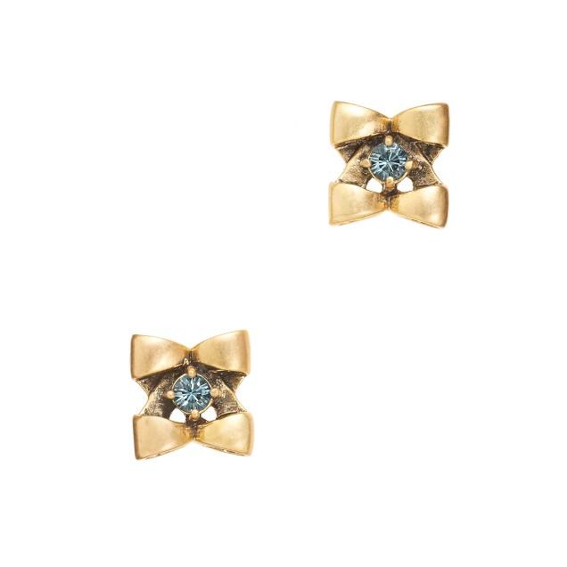 Tiny bow flower studs