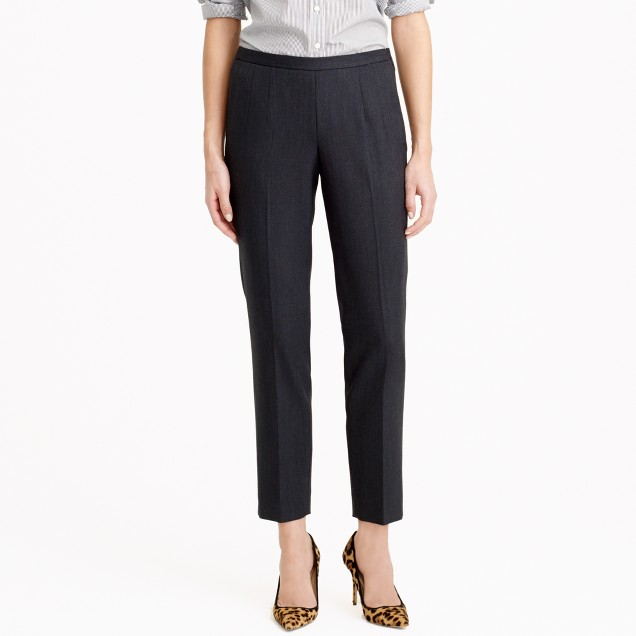 Back-zip pant in wool piqué