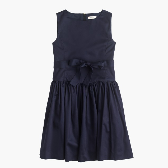 Girls' sateen bow dress
