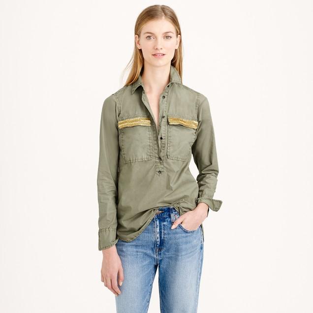 Beaded chevron popover shirt in vintage surplus