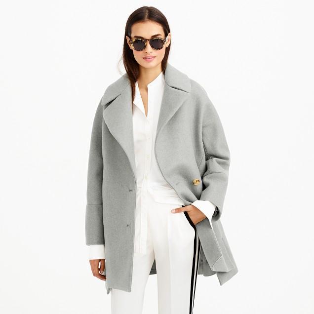 Wool melton swing coat