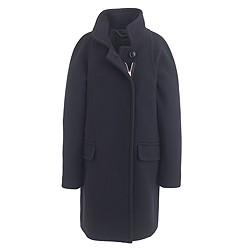 Petite stadium-cloth standing-collar coat