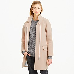Petite stadium-cloth standing-collar coat