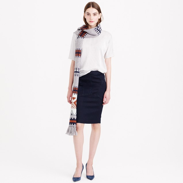Pieced denim pencil skirt