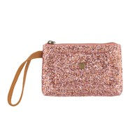 Girls' glitter and leather pochette