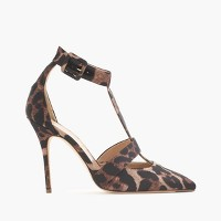 Roxie leopard satin T-strap pumps