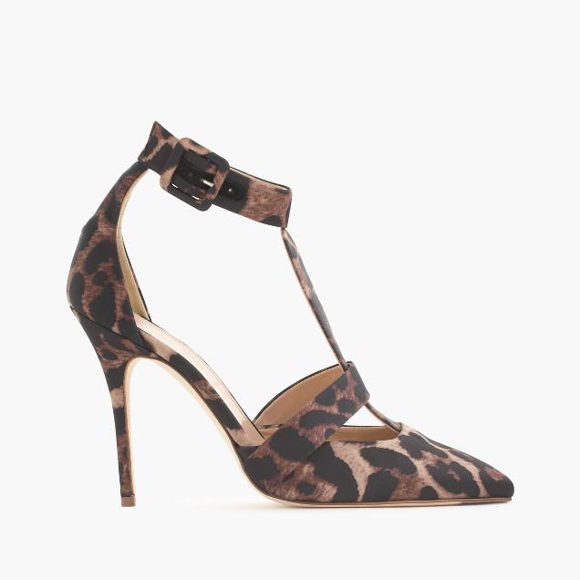 Roxie leopard satin T-strap pumps