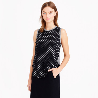 Silk-front tank in polka dot