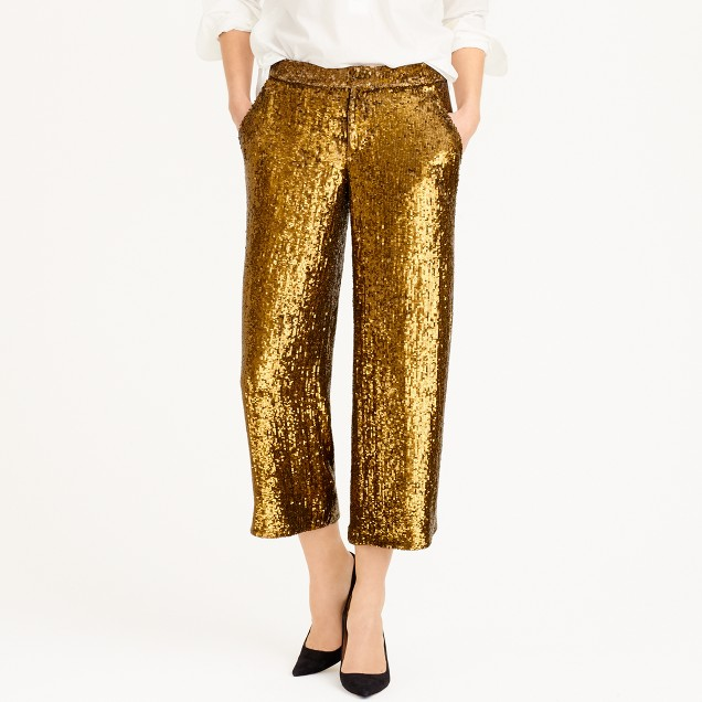 Collection cropped wide-leg trouser in sequin : | J.Crew