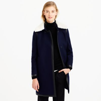 Collection shearling-collar coat : | J.Crew