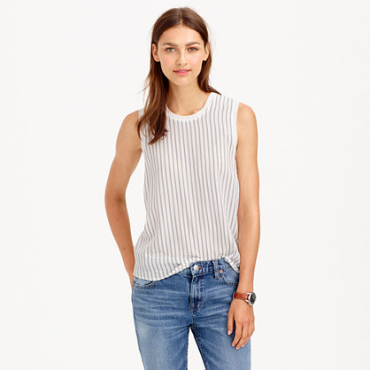 Silk-front tank in stripe