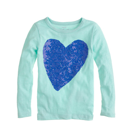 Girls 39 sequin heart t shirt allproducts j crew for Girls sequin t shirt
