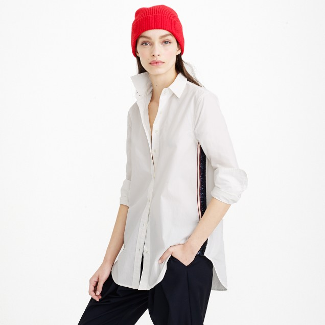 Sequin side-stripe shirt in white