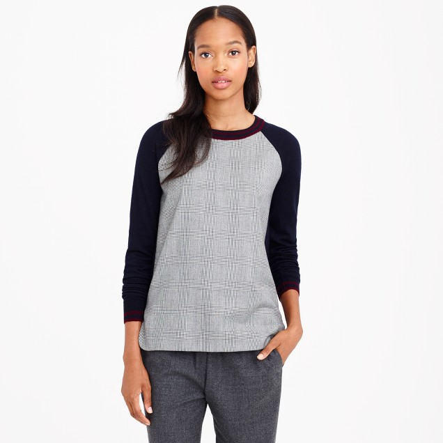 Merino wool glen plaid-panel sweater