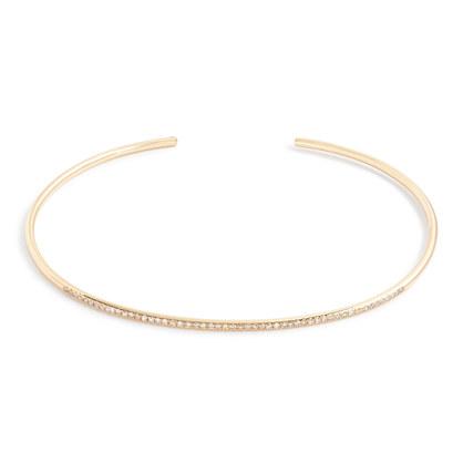 Gabriela Artigas® 14k gold subtle cuff bracelet with white diamonds
