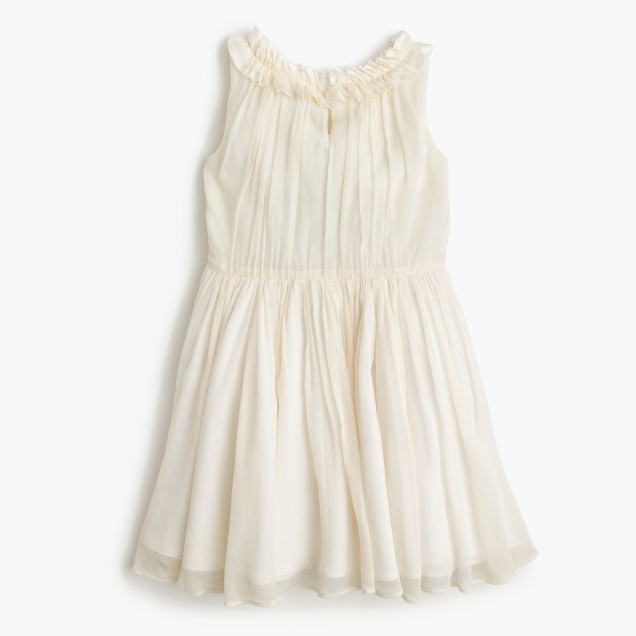Girls' pleated ruffle dress in crinkle chiffon
