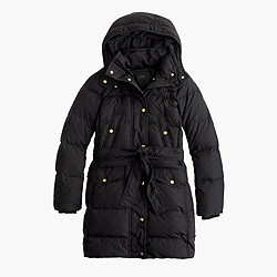 Tall long belted down puffer coat