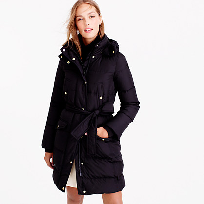Tall wintress belted puffer coat