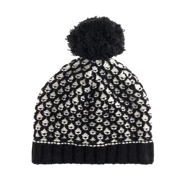 Honeycomb pom-pom hat