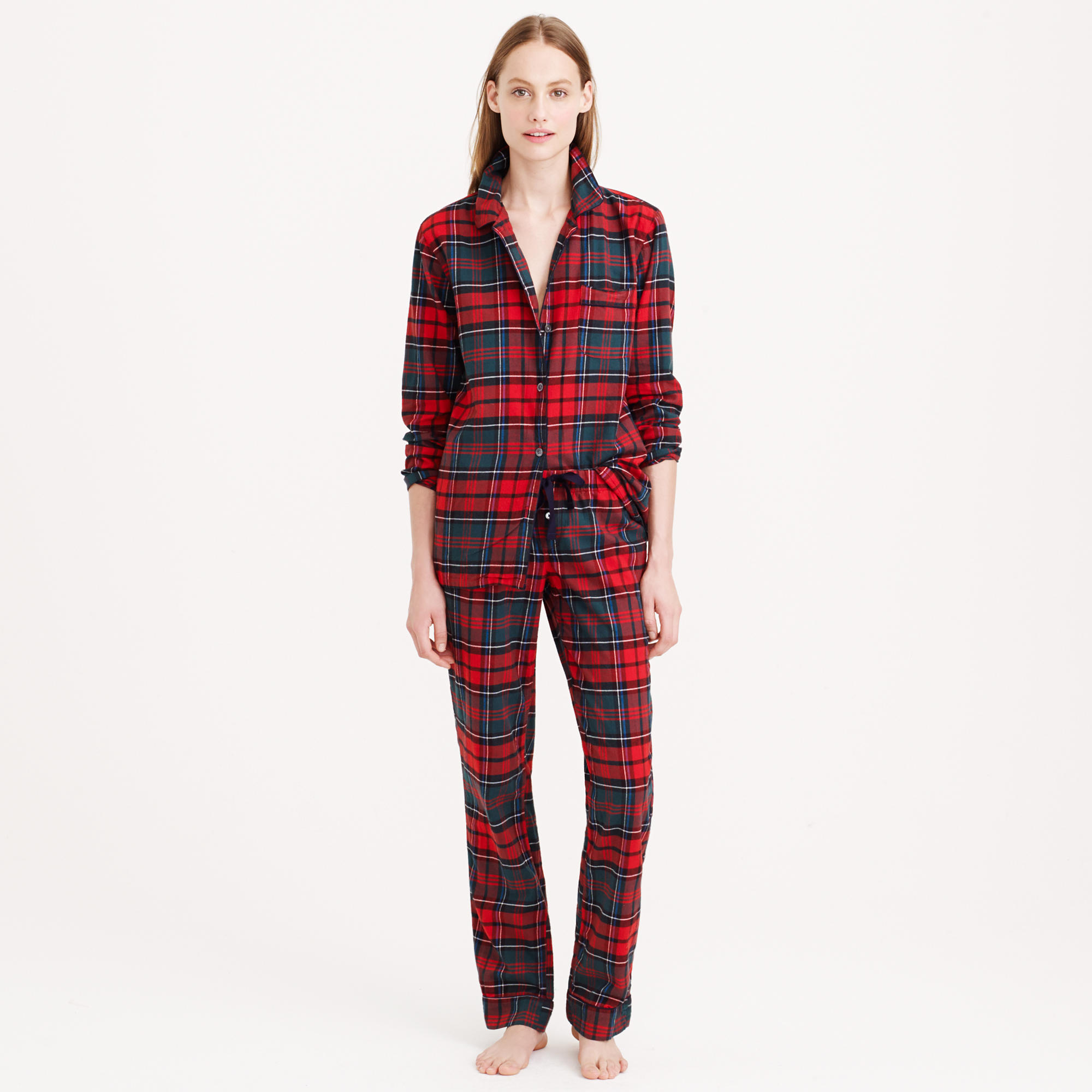 Pajama set in plaid flannel :   J.Crew