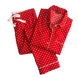 Pajama set in polka-dot flannel