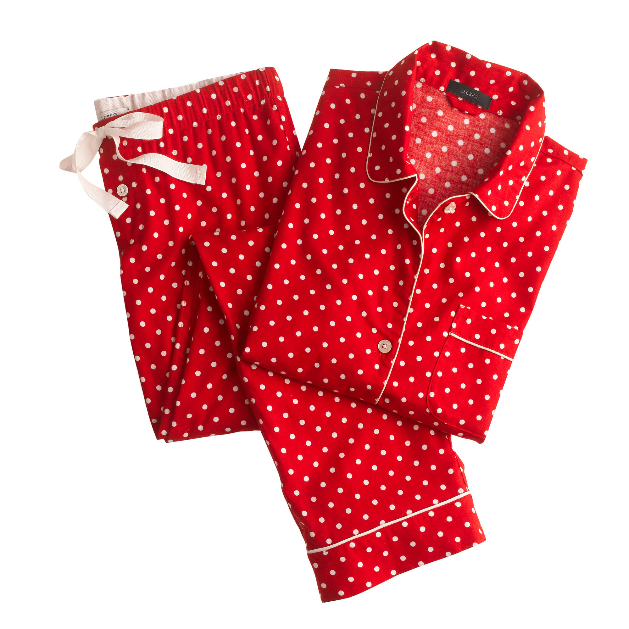 Pajama set in polka-dot flannel : | J.Crew