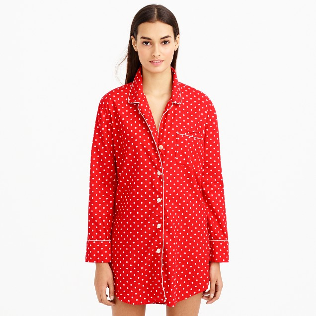 Nightshirt in polka-dot flannel