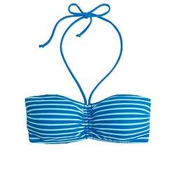 Deck-stripe tie-front bandeau bikini top